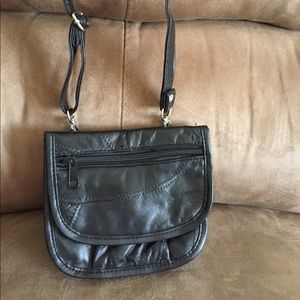 Handbags - Black Leather Patchwork Small Crossbody Handbag